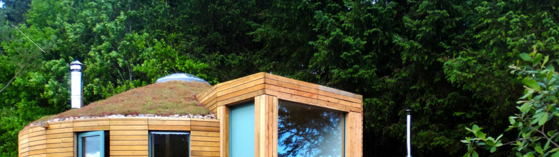 An image showing the exterior of Otter Yurt Lodge at Loch Ken Eco Bothies self catering accommodatio