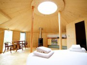 An image showing the interior of Otter yurt at Loch Ken Eco Bothies self catering accommodation eco