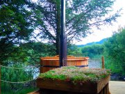 An image of the hot tub at Loch Ken Eco Bothies self catering accommodation eco retreat in Galloway