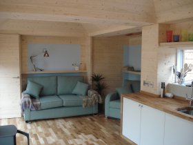 An image showing the interior of Loch Ken Eco Bothies self catering accommodation eco retreats in Ga