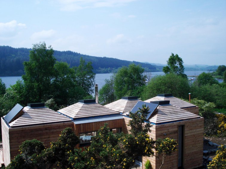An image showing the exterior of red kite lodge eco holiday at Loch Ken Eco Bothies self catering ac