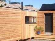 An image showing the eco retreats rear of Loch Ken Eco Bothies self catering accommodation in Gallow